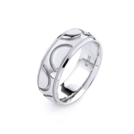 Modern Semicircles Design  High Quality Finishing Solid Fashion Wedding Band 14K White Gold 8MM Wide By 2.20MM Thick