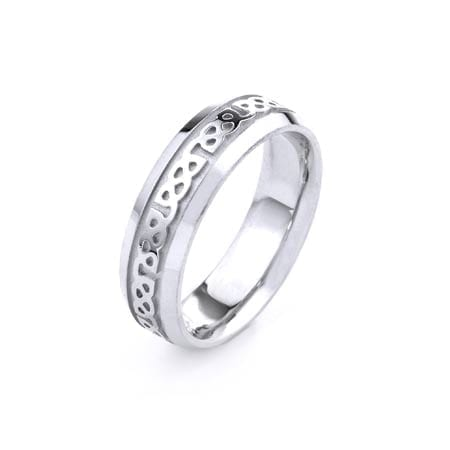 Modern Design High Quality Finishing Solid Fashion Wedding Band 14K White Gold 6.5MM Wide By 2.00MM Thick
