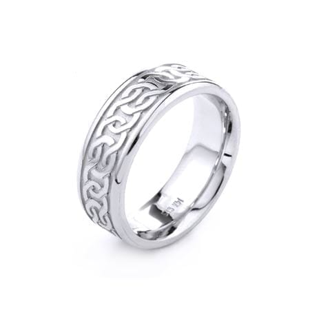 Modern Design High Quality Finishing Solid Fashion Wedding Band 14K White Gold 6.5MM Wide By 2.20MM Thick