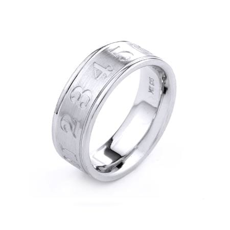 Modern Numbers Design  High Quality Finishing Solid Fashion Wedding Band 14K White Gold 8.00MM Wide By 2.20MM Thick