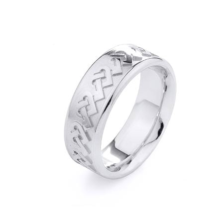 Modern Hearts Design  High Quality Finishing Solid Fashion Wedding Band 14K White Gold  8MM Wide By 2.20MM Thick