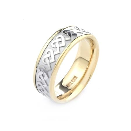 Two-Tone Modern Hearts Design High Quality Finishing Solid Fashion Wedding Band 14K White & Yellow Gold  8MM Wide By 2.20MM Thick