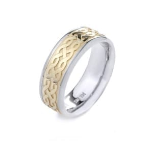 Two-Tone Modern Design High Quality Finishing Solid Fashion Wedding Band 14K White & Yellow Gold  8MM Wide By 2.20MM Thick