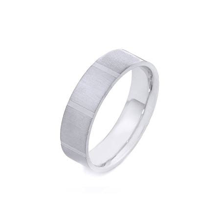 Modern Flat with Lines Design  High Quality Finishing Solid Fashion Wedding Band 14K White Gold 6MM Wide By 1.60MM Thick