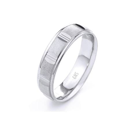 Modern Squares Design  High Quality Finishing Solid Fashion Wedding Band 14K White Gold 7MM Wide By 1.60MM Thick