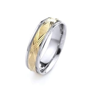 Two-Tone Modern X & Milgrain Design High Quality Finishing Solid Fashion Wedding Band 14K White & Yellow Gold 6MM Wide By 1.60MM Thick