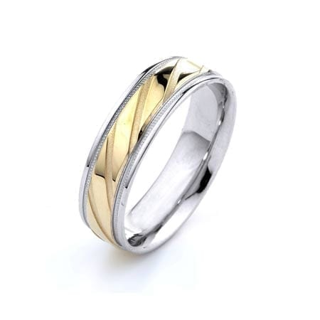 Two-Tone Modern Diagonal & Milgrain Design High Quality Finishing Solid Fashion Wedding Band 14K White & Yellow Gold 6MM Wide By 1.60MM Thick