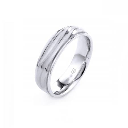 Modern Wavy Lines Design High Quality Finishing Solid Fashion Wedding Band 14K White Gold 6MM Wide By 1.6MM Thick