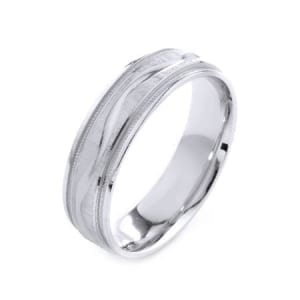 Modern Wavy Line & Milgrain Design High Quality Finishing Solid Fashion Wedding Band 14K White Gold 6MM Wide By 1.6MM Thick