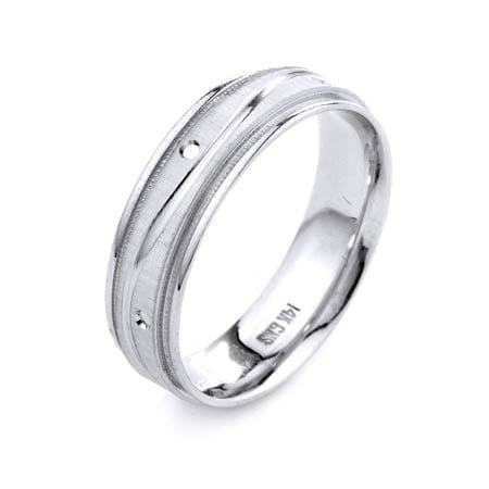 Modern Wavy Line with Post & Miligrain Design High Quality Finishing Solid Fashion Wedding Band 14K White Gold 6MM Wide By 1.6MM Thick