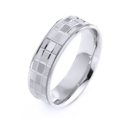 Modern Three Lines Disco Ball Design High Quality Finishing Solid Fashion Wedding Band 14K White Gold 6.5MM Wide By 1.6MM Thick