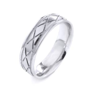 Modern X's & Miligrain Design High Quality Finishing Solid Fashion Wedding Band 14K White Gold 6MM Wide By 1.6MM Thick