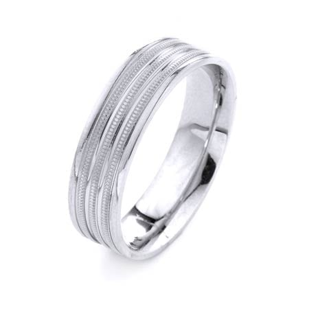 Modern Three Lines Miligrain Design High Quality Finishing Solid Fashion Wedding Band 14K White Gold 6.5MM Wide By 1.6MM Thick