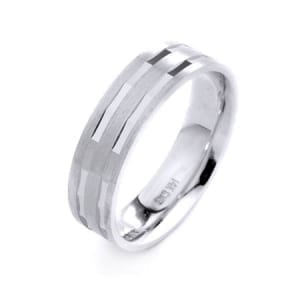 Modern Two Lines  Design High Quality Finishing Solid Fashion Wedding Band 14K White Gold 6MM Wide By 1.6MM Thick