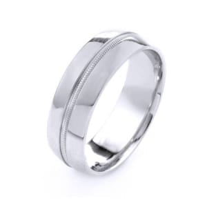 Modern One Line Milgrain Design High Quality Finishing Solid Fashion Wedding Band 14K White Gold 7MM Wide By 1.6MM Thick