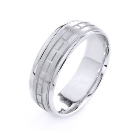 Modern Mini Squares Design High Quality Finishing Solid Fashion Wedding Band 14K White Gold 7MM Wide By 1.6MM Thick