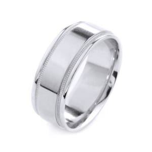 Modern Mligrain Design High Quality Finishing Solid Fashion Wedding Band 14K White Gold 8MM Wide By 1.6MM Thick