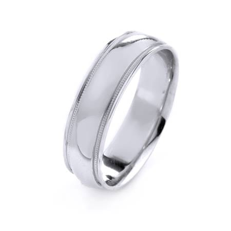 Modern Milgrain Design High Quality Finishing Solid Fashion Wedding Band 14K White Gold 6MM Wide By 1.6MM Thick