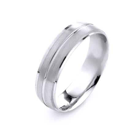 Modern Three Lines Design High Quality Finishing Solid Fashion Wedding Band 14K White Gold 6MM Wide By 1.6MM Thick