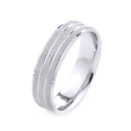 Modern Shiny With Two Lines Design High Quality Finishing Solid Fashion Wedding Band 14K White Gold 6MM Wide By 1.6MM Thick