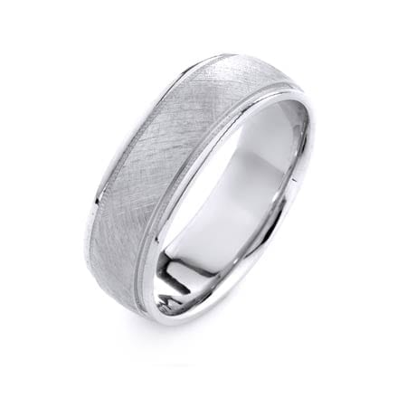 Modern Milgrain Design High Quality Finishing Solid Fashion Wedding Band 14K White Gold 7MM Wide By 1.6MM Thick