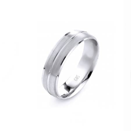 Modern One Line Design High Quality Finishing Solid Fashion Wedding Band 14K White Gold 6MM Wide By 1.6MM Thick