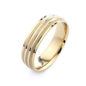 Modern Ribbed Design  High Quality Finishing Solid Fashion Wedding Band 14K Yellow Gold 6MM Wide By 1.6MM Thick
