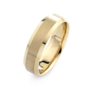 Modern Design  High Quality Finishing Solid Fashion Wedding Band 14K Yellow Gold 6MM Wide By 1.6MM Thick