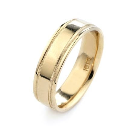 Modern Milgrain Design  High Quality Finishing Solid Fashion Wedding Band 14K Yellow Gold 6MM Wide By 1.6MM Thick