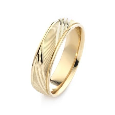 Modern Diagonal Lines Design  High Quality Finishing Solid Fashion Wedding Band 14K Yellow Gold 6MM Wide By 1.6MM Thick
