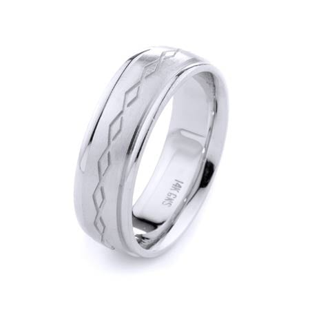 Modern Diamonds Shape Design High Quality Finishing Solid Fashion Wedding Band 14K White Gold 7MM Wide By 2.20MM Thick