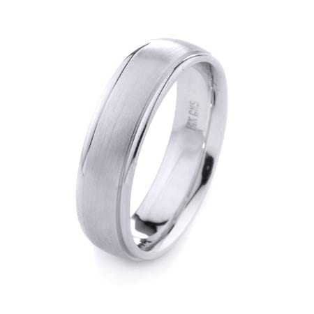 Modern Design High Quality Finishing Solid Fashion Wedding Band 14K White Gold 6MM Wide By 2.00MM Thick