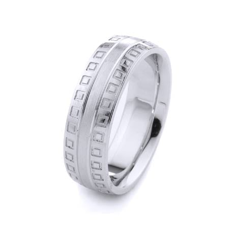 Modern Mini Squares Design High Quality Finishing Solid Fashion Wedding Band 14K White Gold 7MM Wide By 2.20MM Thick