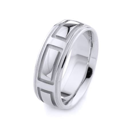 Modern Ractangles & Milgrain Design High Quality Finishing Solid Fashion Wedding Band 14K White Gold 8MM Wide By 2.20MM Thick