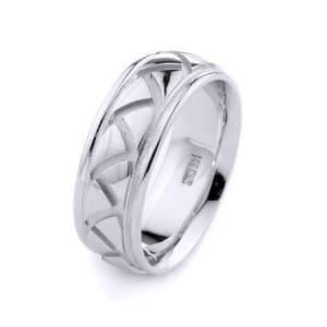 Modern & Milgrain Design High Quality Finishing Solid Fashion Wedding Band 14K White Gold 8MM Wide By 2.20MM Thick